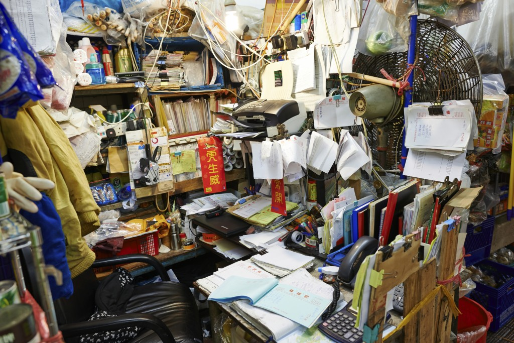 Hong Kong, Hong Kong S.A.R. - February 18, 2014: an accountant office in Bowrington Road market. Bowrington Road, Wan Chai, Hong Kong.